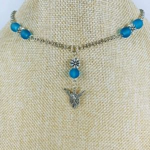 Fairy necklace with dark blue frosted glass beads